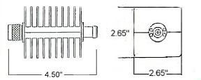 25 Watt Fixed Attenuator - Type N Line Drawing
