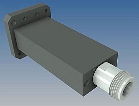 Double Ridge Waveguide To Coaxial Endlaunch Adapter - Type-N - 203 Series