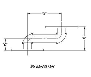Dual 90 degree E Bend Rectangular Waveguide