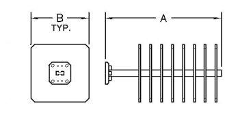 Double Ridge High Power Waveguide Termination - Series 745 - Diagram